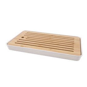 Point-Virgule bamboe broodplank & bamboevezel opvangbak wit 43x26x4.3cm
