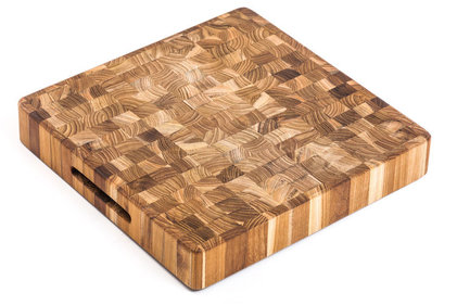 Teakhaus End Grain Butcher Block Square Chopping Block with Integrated Handles 30x30x5,1m