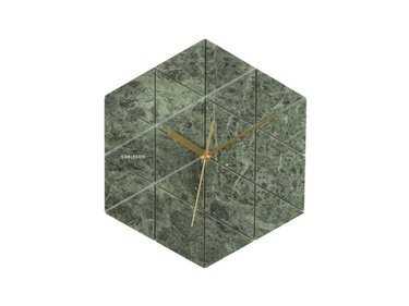 Karlsson wandklok Marble Hexagon green, BOX32 Design