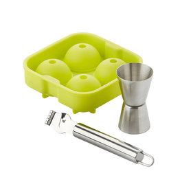 Point-Virgule 3-piece cocktail set - ice cream ball shape, buddy and zester