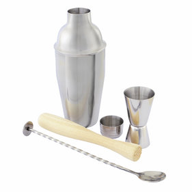 Point Virgule 4 parts. cocktail set - bar spoon, buddy, pestle & cobbler shaker
