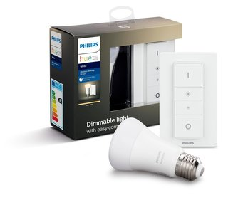 Philips Hue Bluetooth - E27 - Standaard lamp + draadloze dimmerset - warmwit licht