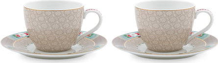 Pip Studio Blushing Birds 280ml espressokop- en schotel - set van 2