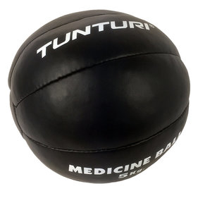 Tunturi Medicine Ball - Crossfit Ball - Medicine Ball - 5 kg - Black Leather