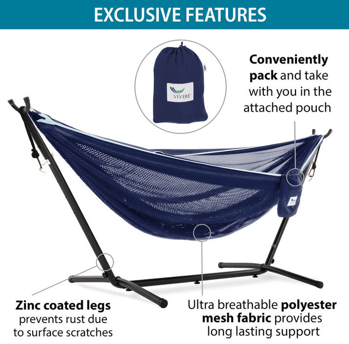 Vivere Mesh Combo Hammock with stand