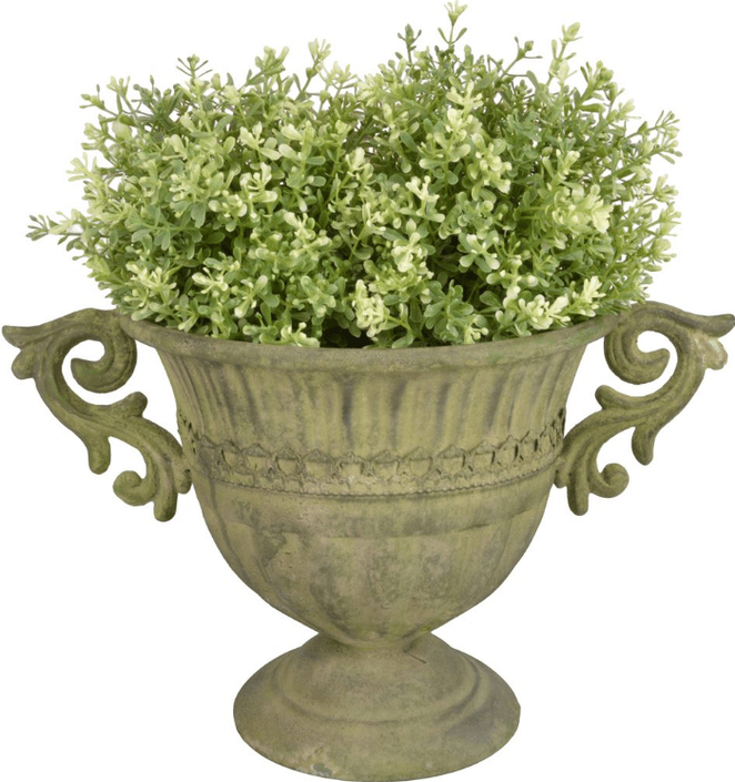 Aged Metal Green vaas rond S