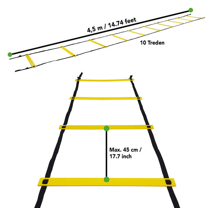 Tunturi Agility Ladder - Speed ladder - Fitness ladder - Loop ladder - 4.5m