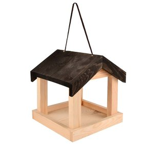 Esschert Design hanging wooden feeding house with black roof