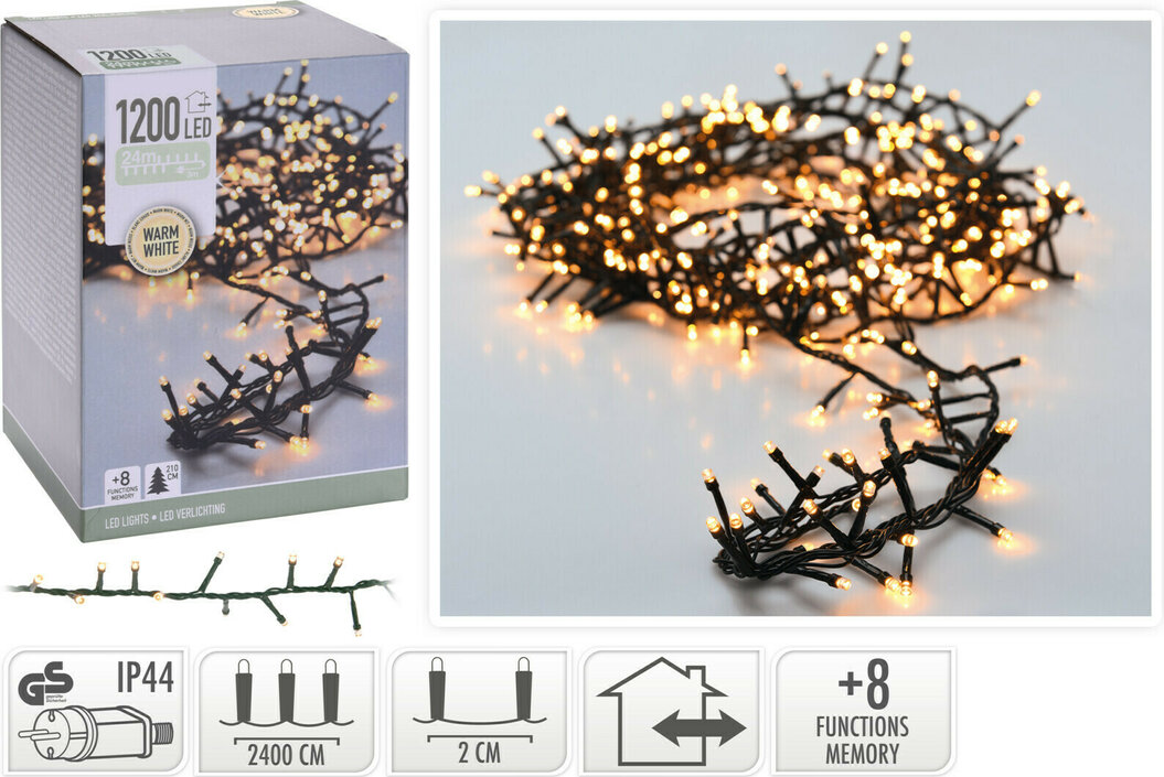Valetti Microcluster 1200LED WW 24mtr Weihnachtsbaumbeleuchtung