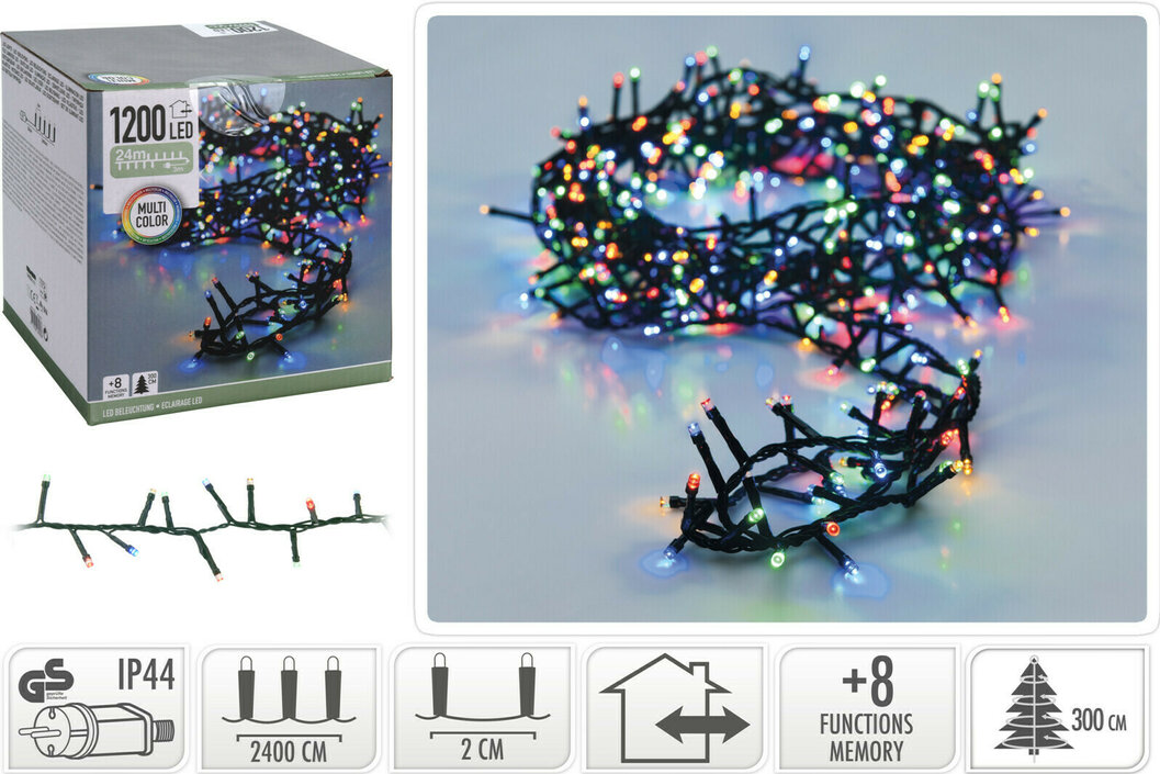 Valetti Microcluster 1200LED Multi 24mtr kerstboomverlichting