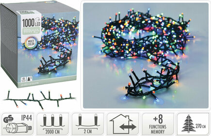 Valetti Microcluster 1000LED Multi 20mtr kerstboomverlichting