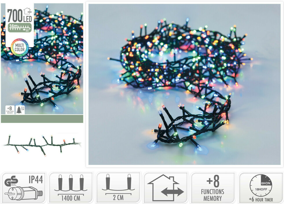 Valetti Microcluster 700LED Multi 14mtr kerstboomverlichting