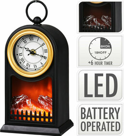 Valetti LED 26 cm fireplace with clock