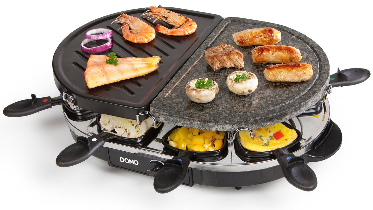 domo steengrill grill raclette gourmetset kopen funcooking. Black Bedroom Furniture Sets. Home Design Ideas