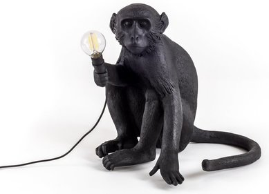 Seletti Sitting Monkey Lamp Black