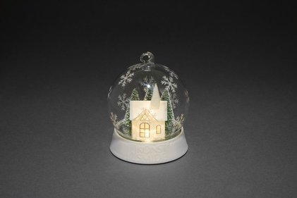 Konstsmide LED glass globe with church