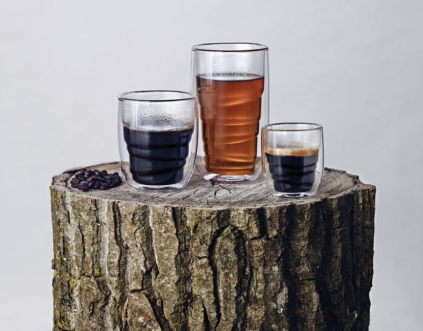 QDO Elements double walled glass Wood - set of 2