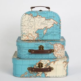 Sass & Belle Vintage World Map luggage set