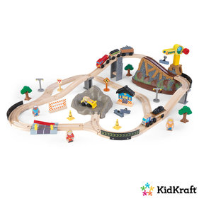 KidKraft Wooden train set with storage bin Construction