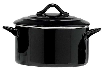 BLACK OVEN DISH WITH LID 0.5L D12.5XH7CM ROUND