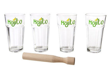 MOJITO SET 4 GLASSES WITH PUSHER GLASS D8XH14.6CM