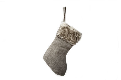 Cosy@home Christmas Stocking grey felt with fake fur