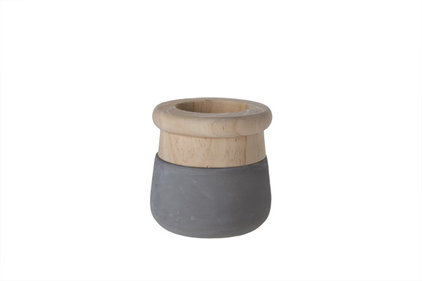 Cozy @ home Cement with Wood flowerpot Ø11 cm