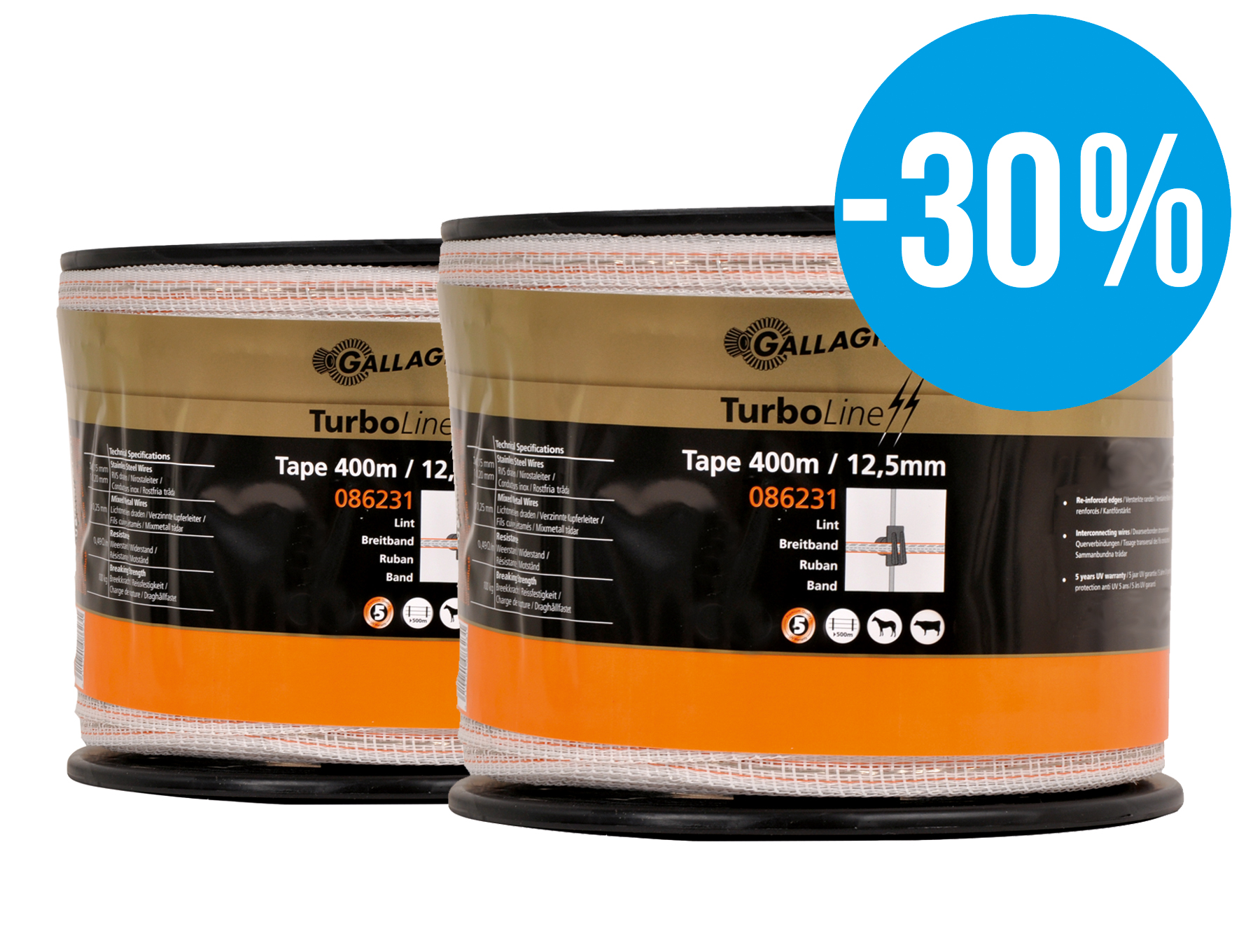 Gallagher Duopack TurboLine tape 12,5mm wit 2x400m