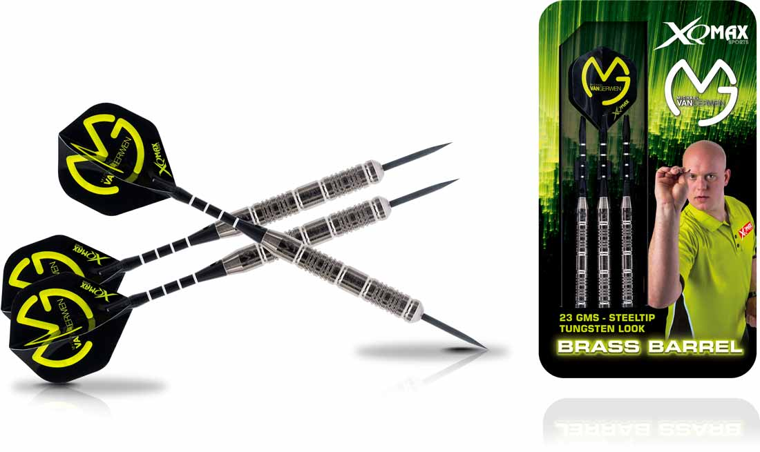 Michael van Gerwen Brass Steel Darts in Tungsten Look