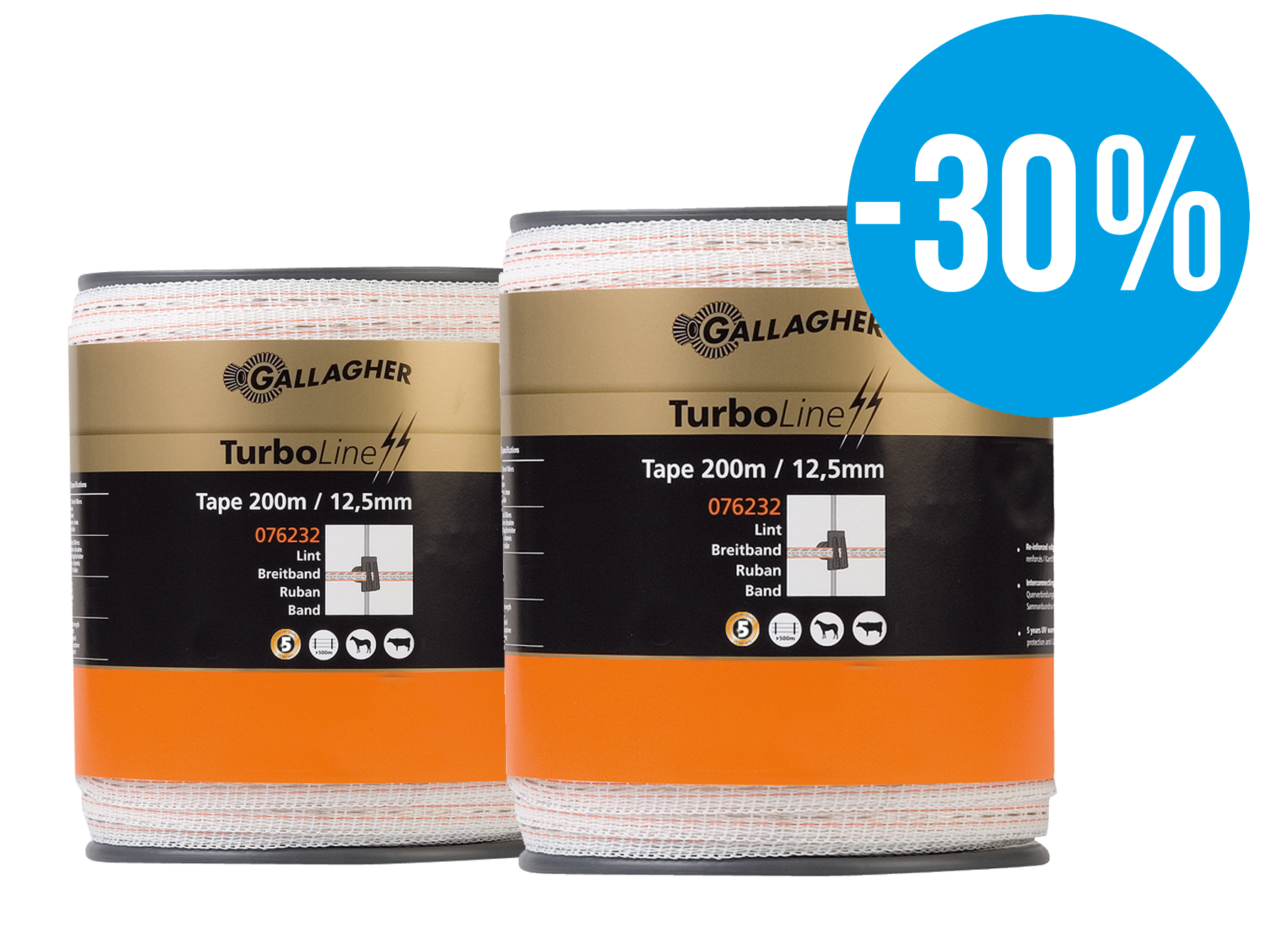 Gallagher Duopack TurboLine tape 12,5mm wit 2x200m