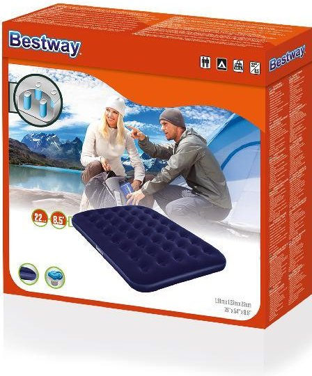 Bestway Flocked Blauw Double luchtbed